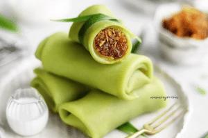 Vegan Pandan rolled crepes with grated coconut in gula melaka - Kuih Dadar