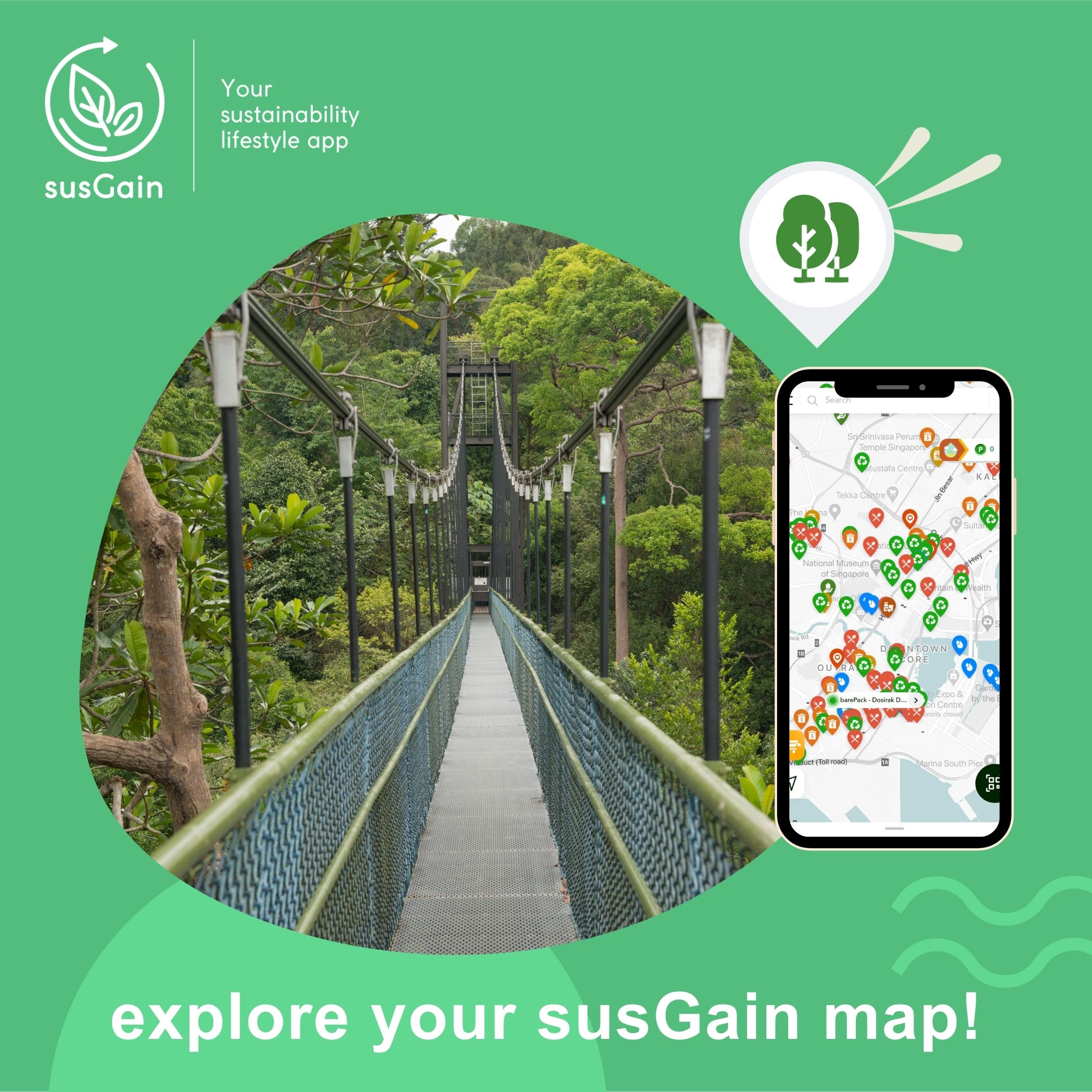 Singapore unique nature trail - susGain nature park locator